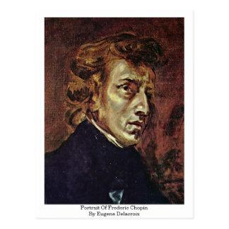 Eugene Delacroix著フレデリックショパンのポートレート ポストカード