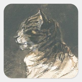Eugene Delacroix著猫の頭部 スクエアシール