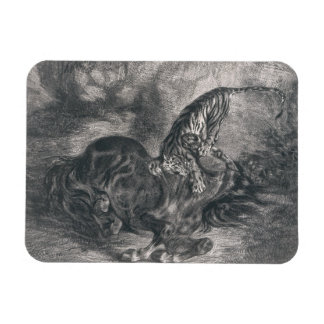 Eugene Delacroix -トラによって倒される野生の馬 マグネット