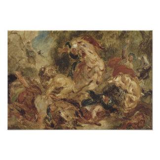 Eugene Delacroix -ライオンの狩り フォトプリント