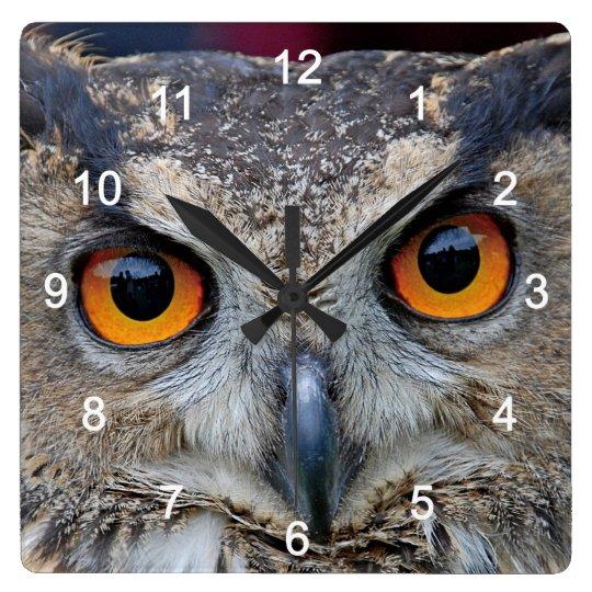 Eurasian Eagle Owl スクエア壁時計