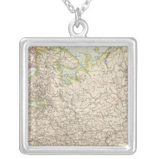 Europaisches Russland -ヨーロッパおよびロシアの地図 シルバープレートネックレス
