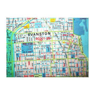 EvanstonのILのヴィンテージの地図のプリント キャンバスプリント