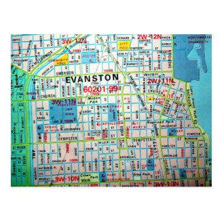 EVANSTONのILのヴィンテージの地図の郵便はがき ポストカード