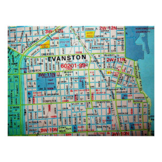 EVANSTONのILのヴィンテージの地図ポスター ポスター