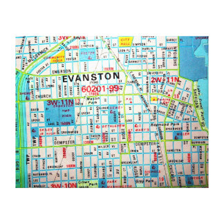 EVANSTONのILのヴィンテージの地図 キャンバスプリント