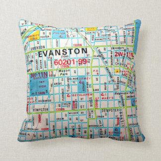 EVANSTONのILのヴィンテージの地図 クッション