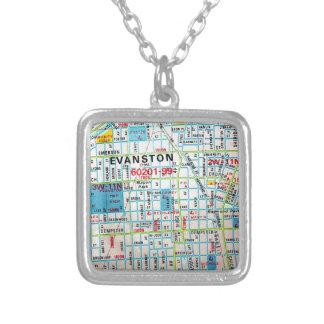 EVANSTONのILのヴィンテージの地図 シルバープレートネックレス