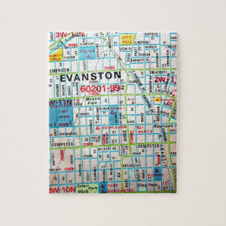 EVANSTONのILのヴィンテージの地図 ジグソーパズル