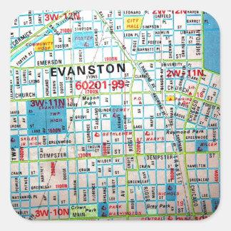 EVANSTONのILのヴィンテージの地図 スクエアシール