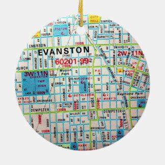EVANSTONのILのヴィンテージの地図 セラミックオーナメント