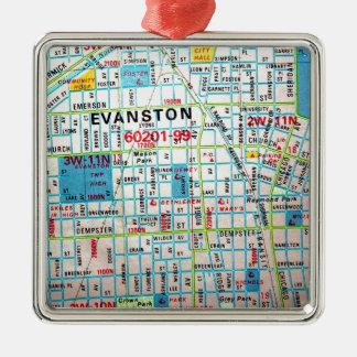 EVANSTONのILのヴィンテージの地図 メタルオーナメント