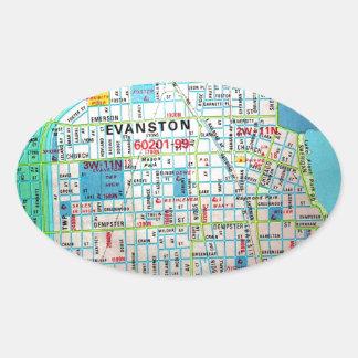 EVANSTONのILのヴィンテージの地図 楕円形シール