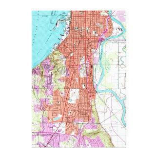 Everettワシントン州(1953年)のヴィンテージの地図 キャンバスプリント