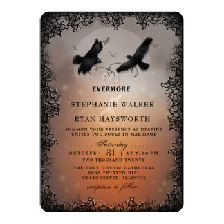 Evermore結婚しているハロウィンのワタリガラスおよびハート カード