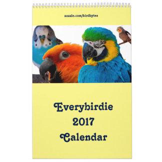 """Everybirdie 2017のカレンダー17"""" x 11""""独身のなページ カレンダー"""