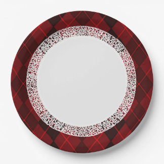 Everyday_Dinner_Paper-Plates (c)の宝石赤アーガイル ペーパープレート