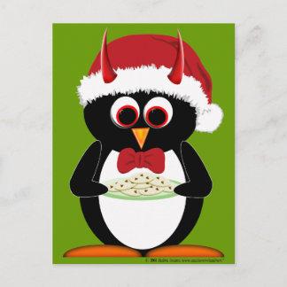 Evil Penguin Holiday Postcard