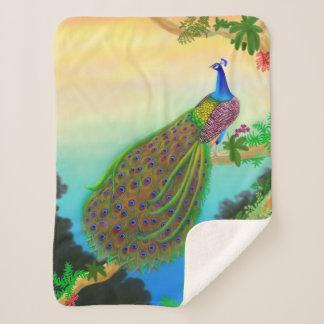 Exotic Indian Peacock Sherpa Blanket シェルパブランケット