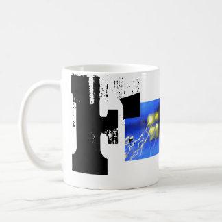 Fのモノグラムのタイポグラフィのカッコいいのグランジなマグ コーヒーマグカップ