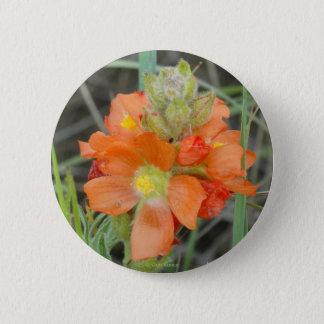 F0040オレンジ野生の花の深紅のMallow 5.7cm 丸型バッジ