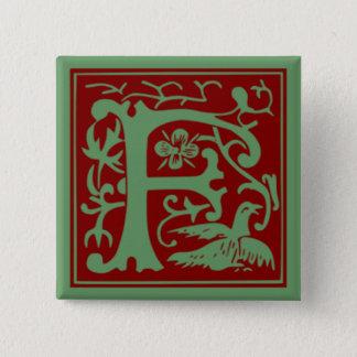 F -装飾用のアルファベット 5.1CM 正方形バッジ
