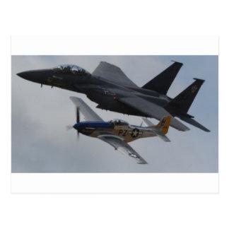 F-15ワシ + P-51ムスタングの形成 ポストカード