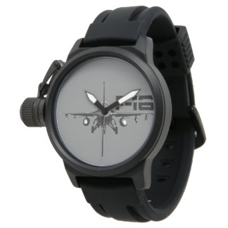 F-16戦いの《鳥》ハヤブサの王冠の保護装置の黒のゴム 腕時計