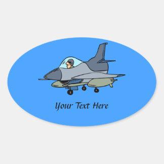 F-16 《鳥》ハヤブサおよびパイロットの漫画のデザイン 楕円形シール