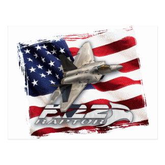 F-22猛禽および米国旗 ポストカード