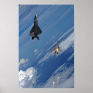 F-22猛禽およびF-15ワシ ポスター