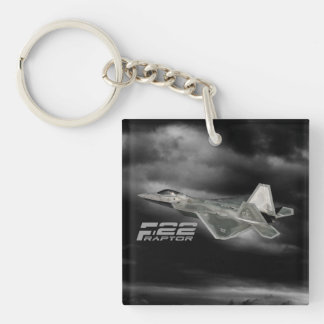 F-22猛禽の正方形(両面の) Keychain キーホルダー