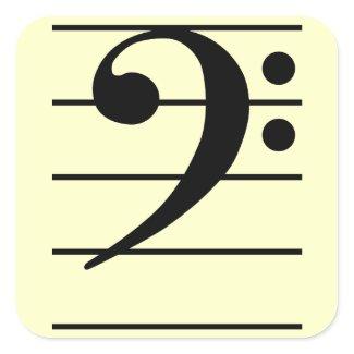 F clef 正方形シール・ステッカー