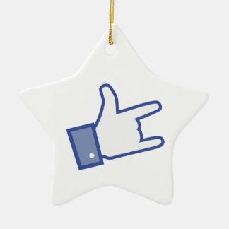 Facebookは親指のロックンロールアイコンを揺するのを好みます セラミックオーナメント