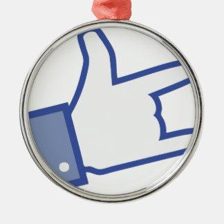 Facebookは親指のロックンロールアイコンを揺するのを好みます メタルオーナメント