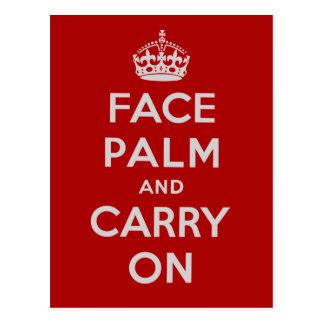 FacepalmおよびCarry On -それは不運の日です 葉書き