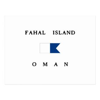 Fahalの島のオマーンのアルファ飛び込みの旗 ポストカード