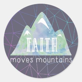 Faith Moves Mountains Purple Angles ラウンドシール