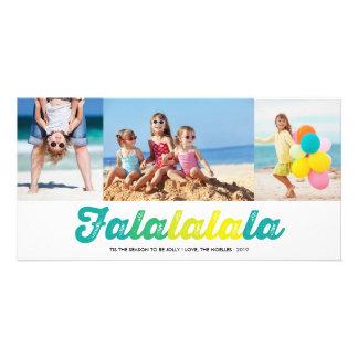 FaLaLaLaLaのすてきなクリスマスのおもしろいの休日の写真カード パーソナライズ写真カード