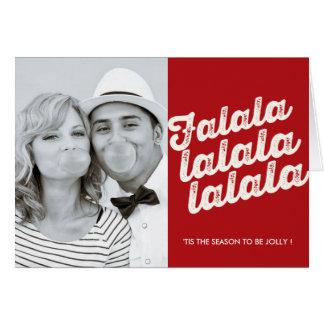 Falalalalaのクリスマスの写真の休日の挨拶状 カード