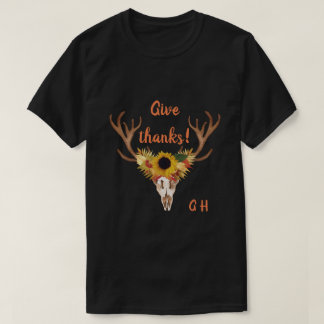 Fall Deer Head Skull Give Thanks Typography Tシャツ