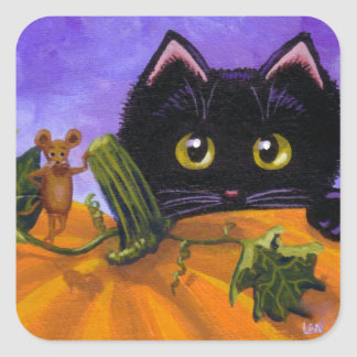 Fall Halloween Black Cat Mouse Creationarts スクエアシール