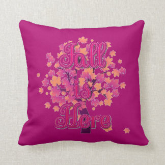 """Fall is Here Throw Pillow (16"""" x 16"""") クッション"""