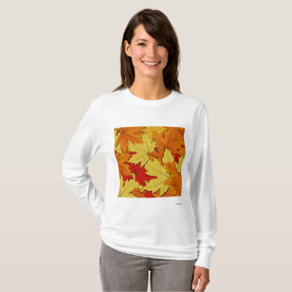 Fall Leaves Pattern Women's Long Sleeve Shirt Tシャツ