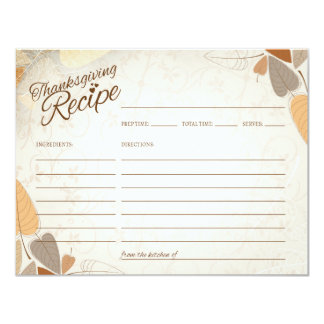 Fall Leaves Thanksgiving Recipe Card カード