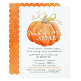 Fall thanksgiving dinner invite watercolor pumpkin 12.7 x 17.8 インビテーションカード
