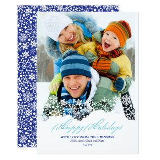 Falling Snowflakes White Christmas Holiday Photo 12.7 X 17.8 インビテーションカード
