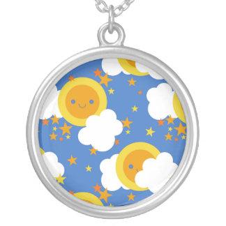 Fallnのかわいい月、星、日光 シルバープレートネックレス