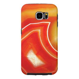 Fallnのオレンジの瑪瑙 Samsung Galaxy S6 ケース