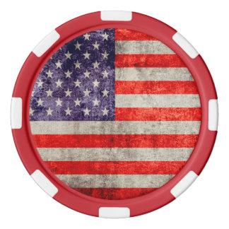 Fallnの旧式な米国旗 ポーカーチップ